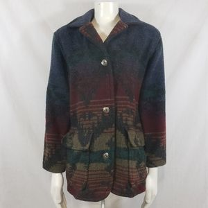 Vintage LL Bean wool coat western print sz S